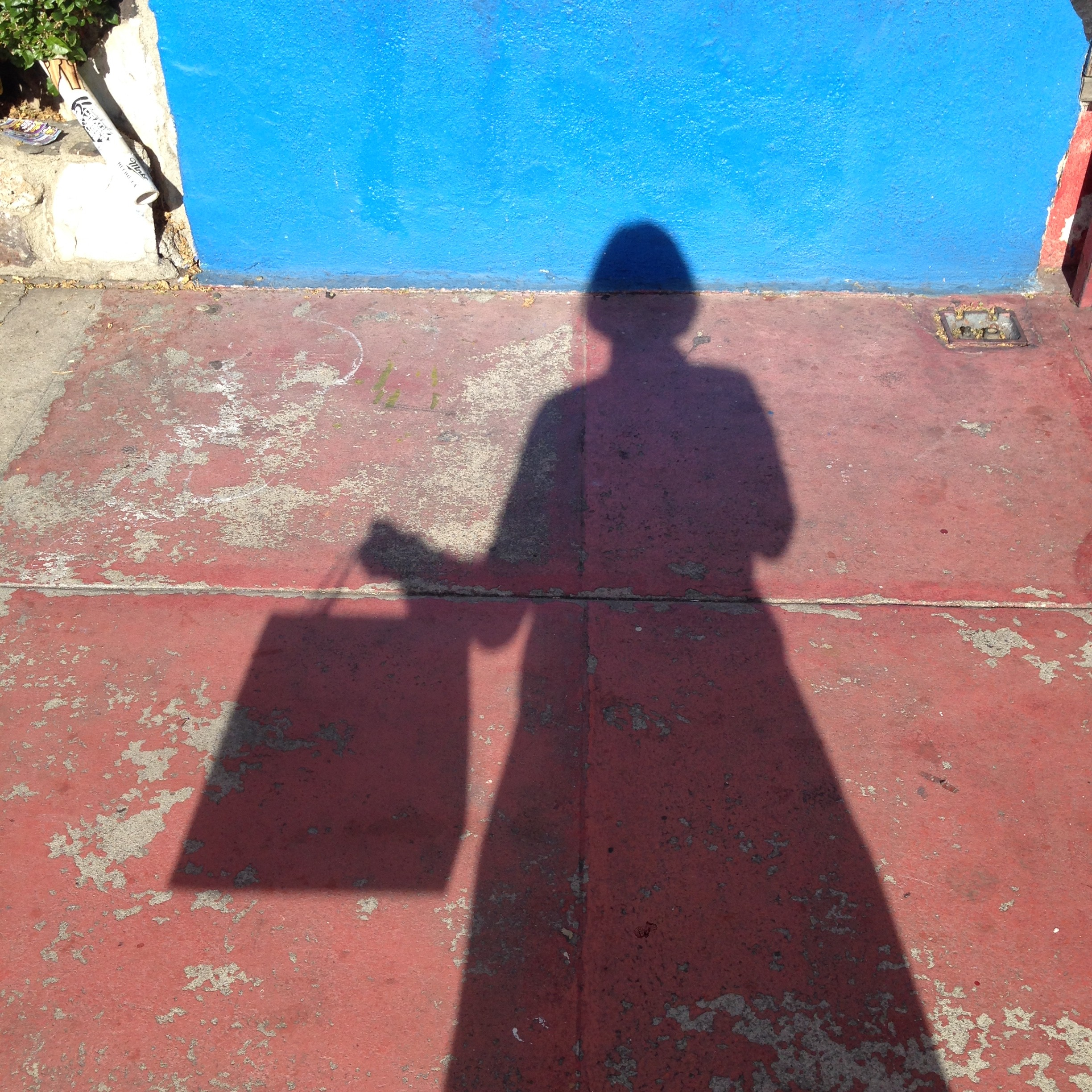 This is the shadow of me and my bag.