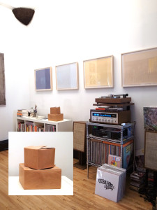 "In the morning, my husband Kyle plays records. The records are starting to edge out the books, but we still have walls and some surfaces for art display – four Mary Temple prints, a David Kennedy Cutler ""dirt corner"" sculpture, Welcome Companions leather cardboard boxes, an old Don Quixote ceramic from my grandma, and a ceramic blobby plate by Sara Magenheimer. Books and lots of records."