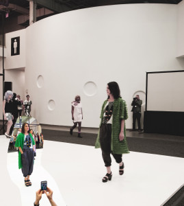 At 7 pm it was time for Cheryl Donegan's gingham fashion show (which should have included Part-time Picnic!). The woman in the green coat is a great artist named Alix Pearlstein.