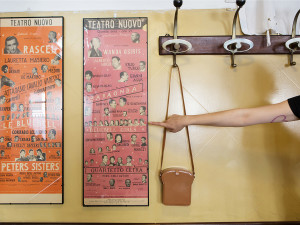 """Inside there are some old posters from Teatro Nuovo, opened in 1938. The plays were """"Attanasio Cavallo Vanesio"""" and """"Baraonda"""" both starring """"The Bluebell Girls."""""""
